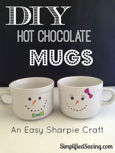 DIY Snowman Mugs {An Easy Sharpie Craft}