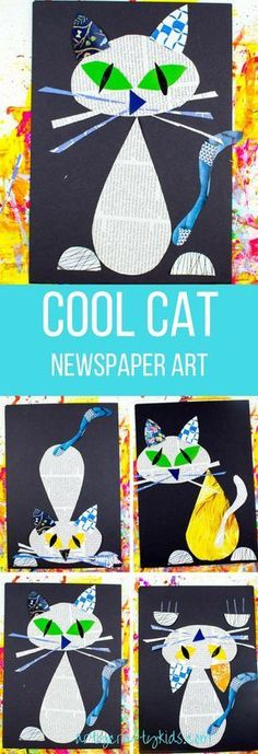 Arty Crafty Kids Art Cool Cat Newspaper Art for Kids A fun recycled cat art project using recycled newspaper and magazines Recycled Art Projects, Craft Projects For Kids, Arts And Crafts Projects, Recycled Materials, Halloween Art Projects, Diy Projects, Halloween Kids, Craft Ideas, Kindergarten Art