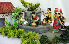At the Well - South Indian golu Thali Decoration Ideas, Decoration For Ganpati, Diwali Decorations, Quilling Dolls, Janmashtami Decoration, Ganapati Decoration, Wedding Doll, Indian Dolls, Realistic Dolls