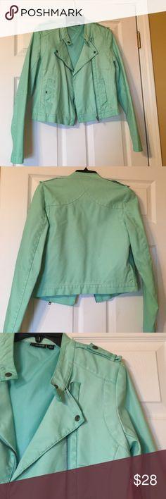 Women's mint faux leather jacket Super cute faux leather mint jacket! Never worn! a.n.a Jackets & Coats