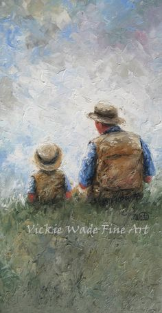 Father and Son Talk 12X24 Original Oil por VickieWadeFineArt