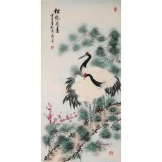 Crane - CNAG000556 - CNArtGallery.com Feng Shui Paintings, Silk Brocade, Chinese Painting, Artist Painting, Paintings For Sale, Crane, Rooster, Hand Painted, The Originals