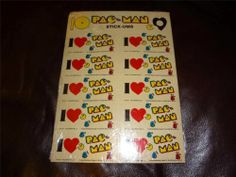 VINTAGE I HEART PAC MAN STICK-UMS STICKERS KIDS COLLECTIBLE TOY GAME VIDEO