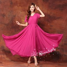100 Colors Double Chiffon Rosy Long Party Dress Short Sleeve Evening Wedding Sundress Summer Holiday Beach Dress Bridesmaid Maxi Skirt