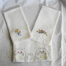 Three Vintage Hand Towels with Floral Embroidery