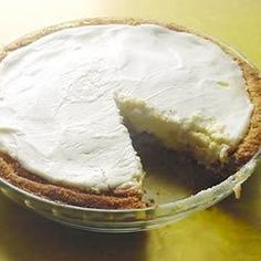 This is a classic baked cream cheese pie made with a sweetened sour cream topping and a hint of vanilla. And of course, it 's served in a graham cracker crust.
