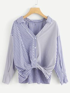 To find out about the Striped Spliced Dip Hem Shirt at SHEIN, part of our latest Blouses ready to shop online today! Pop Fashion, Fashion News, Fashion Outfits, Womens Fashion, Fall Shirts, Mode Hijab, T Shirt Diy, Refashion, Diy Clothes