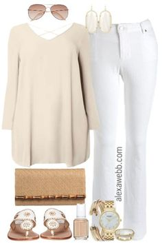 Plus Size Neutrals & White Jeans Outfit - Plus Size Outfit Idea - Plus Size Fashion for Women - Alexa Webb - alexawebb.com
