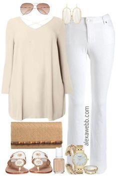 Plus Size Neutrals & White Jeans Outfit - Plus Size Outfit Idea - Plus Size Fashion for Women - Alexa Webb - alexawebb.com