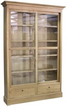 Gl Fronted Bookcase Oak A Block And Chisel Product Doorssliding