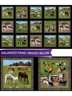 """This scenic panel features landscapes and animals that is reminiscent of life down on the farm. Use this panel to make an adorable quilt or wall hanging for the farmer in your life! Size is 44"""" x 24""""."""