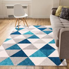 Well Woven Isometry Blue & Grey Modern Geometric Triangle Pattern x 5 Area Rug Soft Shed Free Easy to Clean Stain Resistant Tapetes Diy, Modern Decor, Mid-century Modern, Blue Gray Bedroom, Machine Made Rugs, Contemporary Area Rugs, How To Make Light, Cool Rugs, Colorful Rugs