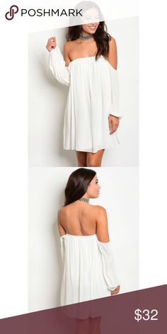 Women's Off Shoulder Dress Sm-Lg This tunic dress features a long sleeve, off shoulder neckline and a flowy fit. This dress is perfect for the occasional all white summertime party or just a night out on the town. Dresses Strapless