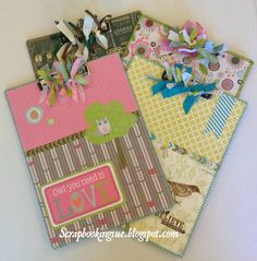Scrapbooking Sue: Altered Clipboards made with Close To My Heart papers - Lollydoodle, Skylark, and Timberline. www.scrapbookingsue.blogspot.com