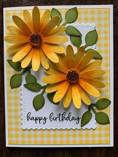 Birthday Cards For Women, Happy Birthday Cards, Cool Cards, Diy Cards, Sunflower Cards, Hand Stamped Cards, Holiday Cards, Valentine Cards, Homemade Cards