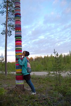 Oranki, Finland.  Is it decoration or is the tree wearing clothes?