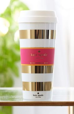 Kate Spade Travel Mug Gold | Beginning Boutique Clothing, Shoes & Jewelry : Women : Handbags & Wallets : http://amzn.to/2jE4Wcd