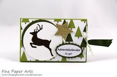 Stampin up - Adventskalender to go, Stempelset Wahre Weihnachtsfreude, Stampset Jolly Christmas, DSP Fröhliche Feiertage, Merry Moments Designer Series Paper - Fine Paper Arts