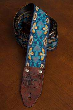 Navy Blue Bird Guitar Strap by nowherebearstraps on Etsy, $65.00