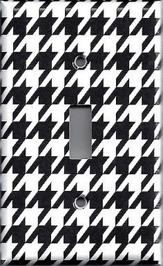 Black & White Houndstooth Alabama Bear Bryant Light Switchplates & Outlet Covers