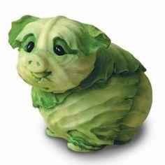 Home Grown Cabbage Piglet Figurine $14