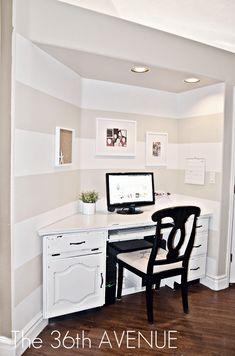 desk nook for-the-home Computer Nook, Desk Nook, Office Nook, Home Office, Corner Office, Corner Desk, Cottage Office, Computer Station, Mini Office