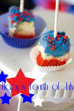 A Place for Us: Memorial Day and Fourth of July Treat, FIC on a Stick 4th Of July Cake, Fourth Of July Food, Happy Fourth Of July, 4th Of July Party, July 4th, Red Velvet Cake Frosting, Cream Cake, Ice Cream, Blue Frosting