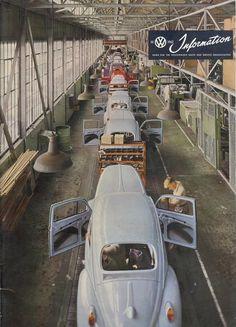 1962 Volkswagen Beetle Assembly Line Carros Vw, Kdf Wagen, Automobile, Combi Vw, Vw Vintage, Assembly Line, Route 66, Vw Beetles, Old Cars