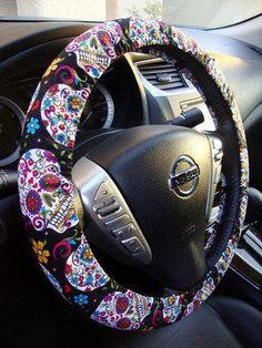Handmade+Steering+Wheel+Cover+Folkloric+Sugar+Skull