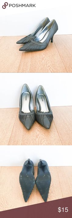 Maurices Silver Pointed Toe Heels Maurices Silver Pointed Toe Heels! Size 8. In good condition. Slight stains on the front heels, see pictures for wear. Ruffles, low heel great shoes for work! - Alex.         🍍Bundle & save 10% on 2+ items! Offers welcome! Maurices Shoes Heels