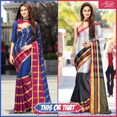 The Stylish Check Sarees for your Wednesday Pick! Indian Look, Indian Wear, Checks Saree, Indian Fashion, Superstar, Sarees, Wednesday, Stylish, Skirts
