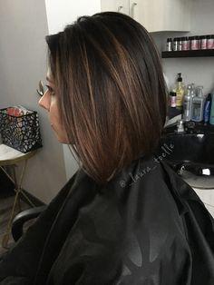 Dark brown hair. Caramel highlights. Short lob. #lkhairstudios