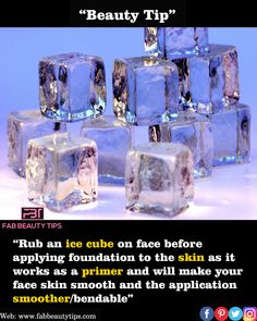 "Reposted from ( - Beauty Tip: ""Ice cube on face before foundation "". Natural Health Tips, Health And Beauty Tips, Natural Skin Care, Beauty Tips For Glowing Skin, Beauty Skin, Face Skin Care, Diy Skin Care, Ice Cubes For Face, Ice On Face"