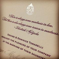 Silver foil + quotes = lovely #letterpress #weddinginvitations