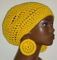 Yellow crochet cap hat with Earrings by Razonda Lee Crochet Beret, Crochet Cap, Caps Hats, Crochet Earrings, Etsy Seller, Berets, Ear Rings, Yellow, Sewing