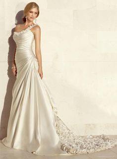 Charming Dolce Satin A-line One Shoulder Strap Neckline Wedding Dress With Beautiful Design   A Line Wedding Dresses With Sweetheart Neckline