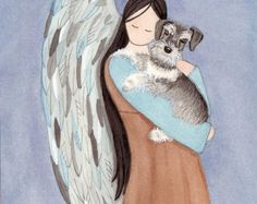Miniature schnauzer uncropped ears cradled by angel / . The post Miniature schnauzer (uncropped ears) cradled by angel / Lynch signed folk art print appeared first on Dogs and Diana. Animals And Pets, Cute Animals, Schnauzer Art, Miniature Schnauzer Puppies, Shetland Sheepdog, Arte Popular, Pet Loss, Rainbow Bridge, Baby Dogs