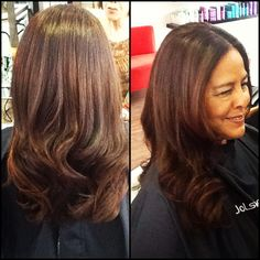 Gorgeous blowout on this Beauty!! She has TONS of thick, coarse, curly hair!! All of this with a round brush:) Kerastase Bain Oleo-relax, fondant Nutri-Thermique, Oleo-relax Slim, Oleo-Relax Elixir! Boom!!
