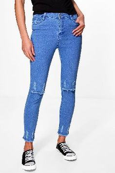 #boohoo High Rise Destroyed Knee Hem Skinny Jeans - dark #Daisy High Rise Destroyed Knee Hem Skinny Jeans - dark blue