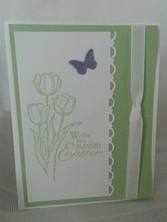 Stampin Up handmade greeting card Blessed Easter Handmade Greetings, Greeting Cards Handmade, Handmade Easter Cards, Easter Bunny Decorations, Scrapbook Cards, Scrapbooking, Flower Cards, Homemade Cards, Stampin Up Cards