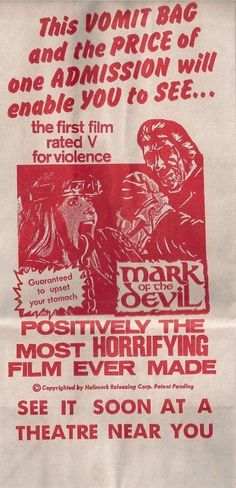 Mark Of The Devil Vomit Bag - http://johnrieber.com/2014/03/04/classic-movie-gimmicks-mark-of-the-devil-vomit-bags-censored-movie-madness/