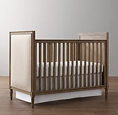 LOVE THIS ONE too, so unique, but I don't think it converts past a toddler bed...- Marcelle Upholstered Crib Collection | Restoration Hardware Baby & Child