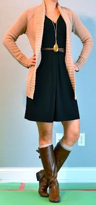 Outfit Inspiration: long pendant necklace with belted dress, sweater, boots, boot cuffs