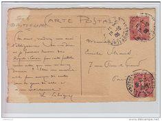 LEBEGUE Léon : carte postale envoyée par l'auteur à Emile STRAUSS (correspondance cartophile) - bon état (marques) - Delcampe.net