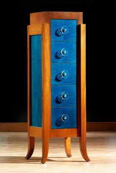 John Strauss Martillo Dresser (Deco Collection). Japanese Blue Curly Maple  And Natural Mahogany