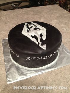 Black fondant Skyrim cake...because a certain video game-loving boyfriend has a birthday coming up!