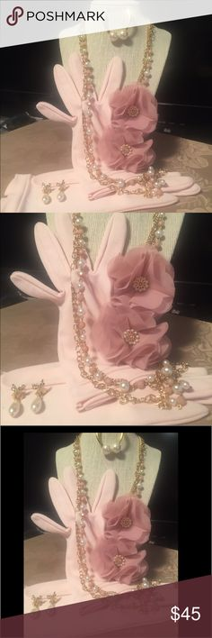 """🕰VNTG Pink collection This is simply gorgeous. Includes: vintage pink gloves ( no brand listed). Gloves will fit large. Circa 1950/60Nice stretch very soft. Bow at wrist. Necklace is 19"""" pink and ivory faux pearls lovely flowers on side.  2 sets of faux pearl earrings. Both are posts. The ribbon drops are 1 inch  and circadian 1990s the studs are 2 in. This set would be perfect for church/tea or Easter. It's simply lovely.   🐶 friendly 🚫 non smoking home.  Items clean and stored in…"""