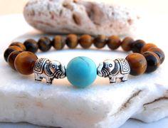 Elephant Tigers Eye bracelet Elephant bracelet by GreenJadeGoddess
