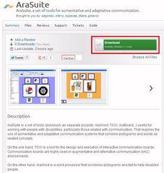 Disponible la nueva suite de herramientas para la comunicación AraSuite, que contiene las aplicaciones TICO y AraWord.   Descarga: http://sourceforge.net/projects/arasuite/ Instalación: http://informaticaparaeducacionespecial.blogspot.com.es/