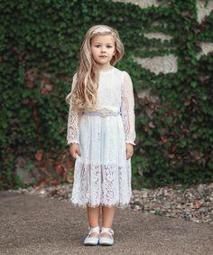 Fairytale Dreams White Lace Dress – LaurenHeleneCouture White Flower Girl Dresses, Lace Flower Girls, Lace Flowers, White Dress, Dress Sash, Lace Dress, Girls Show, Birthday Dresses, Headband Hairstyles